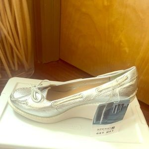 Sperry Metallic Silver Wedges